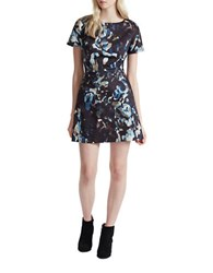 French Connection Cornucopia Short Sleeve Fit And Flare Dress Black Multi