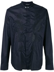 Emporio Armani Embroidered Shirt Blue