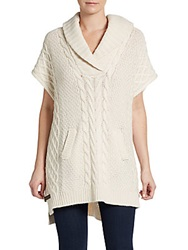 Joan Vass Shawl Cable Knit Poncho Ivory