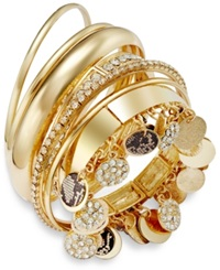 Thalia Sodi Gold Tone Faux Snake And Pave Disc Bangle Bracelet Set