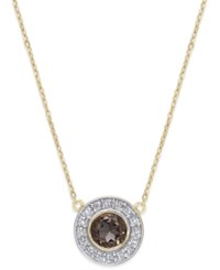 Macy's Smoky Quartz 1 2 Ct. T.W. And Diamond Accent Pendant Necklace In 14K Gold Yellow Gold
