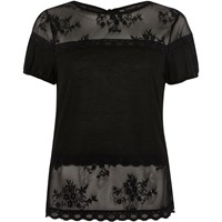 River Island Womens Black Lace Panel Tie Back T Shirt