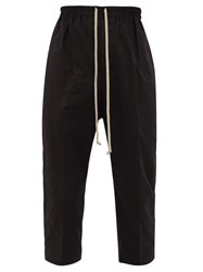 Rick Owens Astaires Drawstring Waist Cotton Cropped Trousers Black