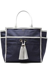 Melissa Odabash Woman Tasseled Leather Trimmed Canvas Tote Navy