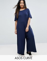 Asos Curve Tie Back Cap Sleeve Jumpsuit In Awkward Length Navy