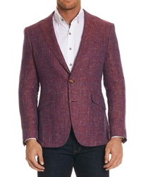 Robert Graham Jeremy Multicolor Tweed Two Button Jacket Bright Red