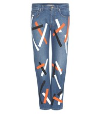 Christopher Kane Embellished Cropped Denim Jeans Blue