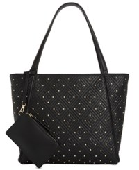 Inc International Concepts I.N.C. Quiin Quilted Studded Large Tote Black
