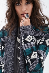 Forever 21 Tribal Print Ribbed Cardigan Grey Teal