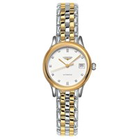Longines L42743277 Women's Flagship Automatic Diamond Date Two Tone Bracelet Strap Watch Silver Gold