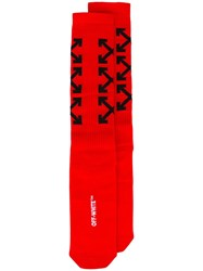 Off White Arrows Print Socks Red