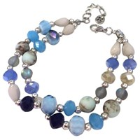 One Button Double Row Beaded Bracelet Blue Mix