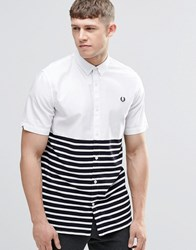 Fred Perry Shirt In Slim Fit With Half Stripe Short Sleeves White