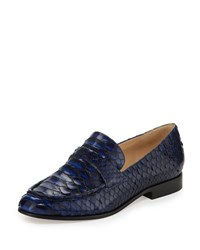 Alexandre Birman Flat Python Slip On Loafer Coffee