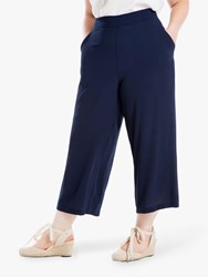 Max Studio Cropped Jersey Trousers Navy