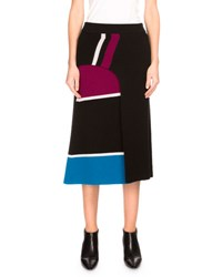 Kenzo Ribbed Striped Wool Midi Skirt Black