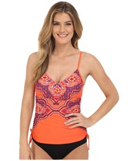 Prana Moorea Tankini Top Neon Orange Jasmine Women's Swimwear