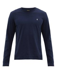 Polo Ralph Lauren Logo Embroidered Cotton Long Sleeve T Shirt Navy