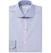 Turnbull And Asser Navy Slim Fit Striped Cotton Shirt Blue