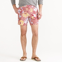 J.Crew 6.5' Tab Swim Short In Stained Glass Floral