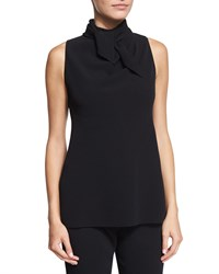 The Row Piona Sleeveless Tie Neck Top Black