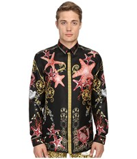 Versace Baroque Starfish Silk Button Up Print Black Men's Long Sleeve Button Up