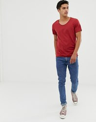Selected Homme T Shirt With Scoop Neck Brick Red