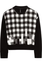 Neil Barrett Cotton Blend And Checked Satin Sweatshirt Black