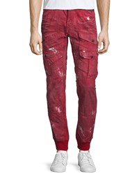 Prps Distressed Cargo Pocket Jogger Pants Red