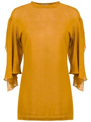 Sissa 7 8 Cut Out Sleeves Blouse Yellow And Orange