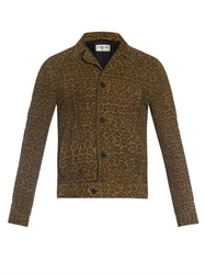 Saint Laurent Leopard Print Suede Jacket