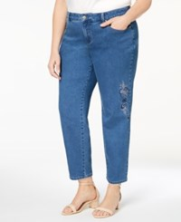 Charter Club Plus Size Embroidered Ankle Length Jeans Created For Macy's Lyon Wash