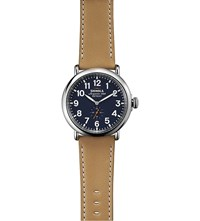 Shinola 11000141 Runwell Stainless Steel And Leather Watch Blue