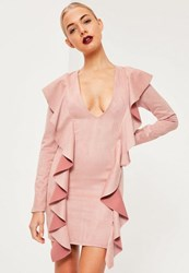Missguided Pink Faux Suede Plunge Frill Bodycon Dress