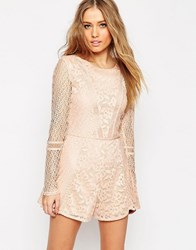 Asos Romper In Pretty Patched Lace Nude