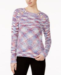 Kensie Space Dyed Button Detail Sweater Royal