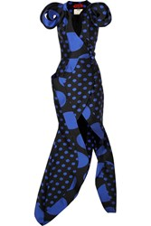 Ronald Van Der Kemp Polka Dot Silk Blend Jacquard Wrap Gown Black Gbp