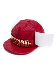 Moschino Quilted Logo Snapback Women Sheep Skin Shearling Viscose One Size Red