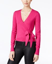 Xoxo Juniors' Bow Faux Wrap Sweater Pink