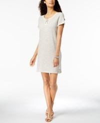 Styleandco. Style Co Lace Up T Shirt Dress Created For Macy's Light Grey Heather