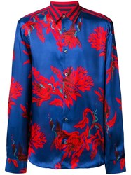 Roberto Cavalli Printed Button Down Shirt Blue