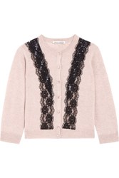Autumn Cashmere Lace Paneled Cardigan Taupe