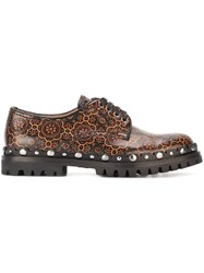 Car Shoe Embroidered Pattern Shoes Brown