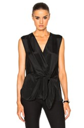 3.1 Phillip Lim Sleeveless Front Knot Top In Black