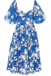 Johanna Ortiz Beautiful Chaos Tiered Floral Print Broderie Anglaise Cotton Dress Blue