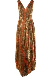 Oscar De La Renta Pleated Printed Silk Blend Lame Wrap Gown Gold