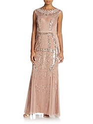 Aidan Mattox Deco Embellished Godet Gown Rose Gold
