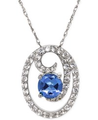 Macy's Blue Topaz 1 1 2 Ct. T.W. And White Topaz 1 1 5 Ct. T.W. Circle Swirl Pendant Necklace In Sterling Silver