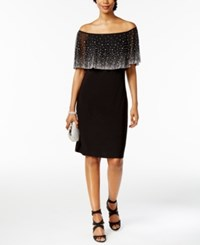 Msk Off The Shoulder Embellished Dress Black Silver
