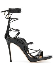 Dsquared2 Riri Sandals Women Goat Skin Leather Snake Skin 38 Black